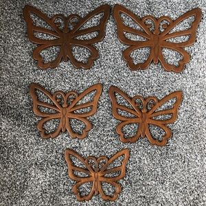 Lot of 5 wooden butterfly plaques